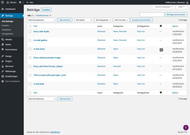 WordPress 5.3 - Optimierungen der Admin-Oberfläche