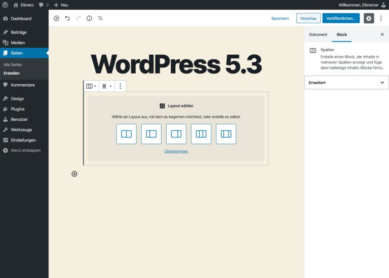 WordPress 5.3 - Verbesserte Spaltenblocks