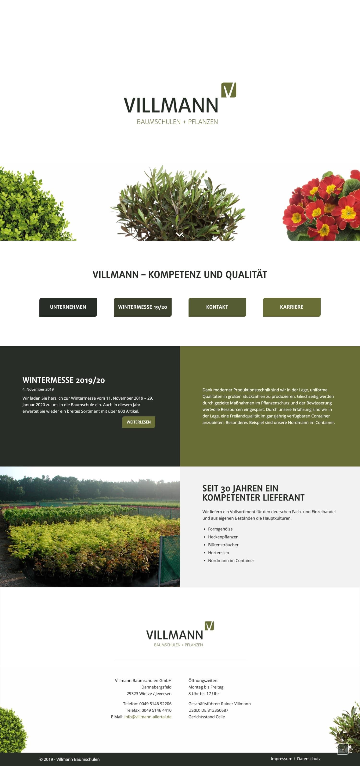 Villmann Baumschulen - Website