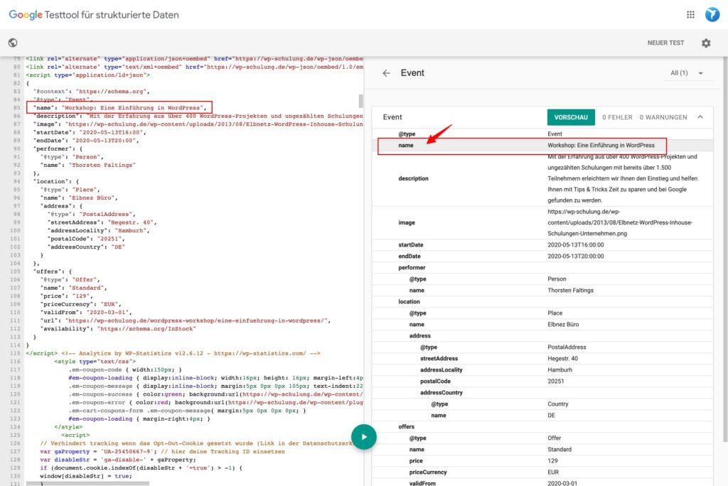 Google Testtool für strukturierte Daten