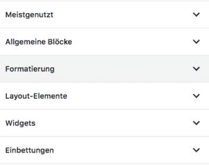 Alle Block-Kategorien der Block-Bibliothek im Block-Editor