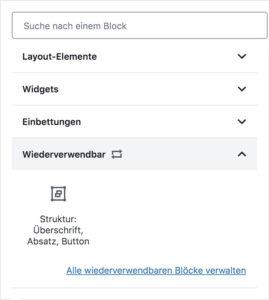 Auflistung der hinzugefügten wiederverwendbaren Blöcke unter der Kategorie Wiederverwendbar in der Block-Bibliothek des Block-Editors