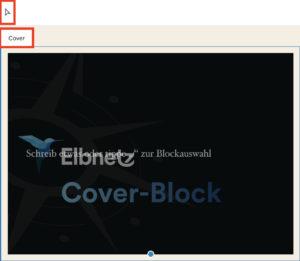 Auswählen-Modus des Block-Editors erkennbar am Zeiger-Icon und Block-Namen