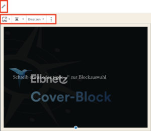 Bearbeitungs-Modus des Block-Editors erkennbar am Stift-Icon und Block-Werkzeugleiste