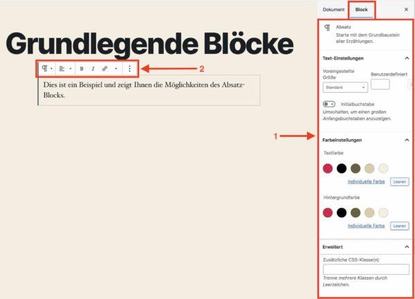 Block-Einstellungen für den Absatz-Block im WordPress-Block-Editor