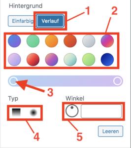 Buttons-Block und die Einstellungsmöglichkeiten bei der Verlauf-Auswahl im Block-Editor