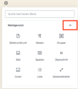 Die Block-Bibliothek des WordPress-Block-Editors