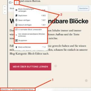 Ein wiederverwendbarer Block mit seinen Optionen in der Block-Werkzeugleiste des Block-Editors