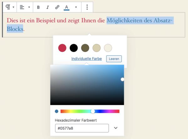 Individuelle Farbe einstellen über die Block-Werkzeugleiste im Absatz-Block des Block-Editors