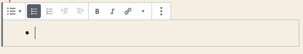 Liste-Block mit Block-Werkzeugleiste im WordPress-Block-Editor