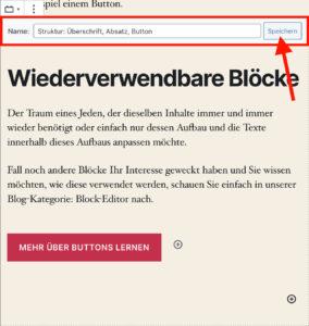 Namen vergeben für wiederverwendbare Blöcke im Block-Editor
