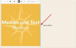 Regulierung der Aufteilung über den blauen Punkt im Medien-und-Text-Block des Block-Editors
