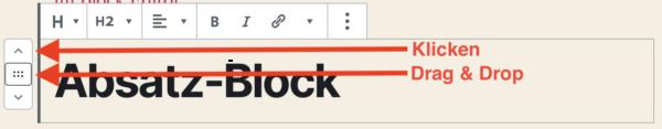 Reihenfolge ändern über Bedienelemente der Blöcke im WordPress-Block-Editor