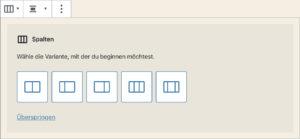 Spalten-Anzahl wählen innerhalb des Spalten-Blocks des WordPress-Block-Editors