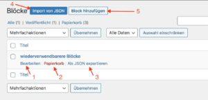 Verwaltung der mit dem Block-Editor erstellten wiederverwendbaren Blöcke