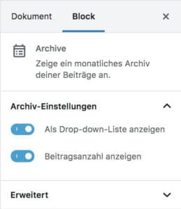 Block-Einstellungen des Archive-Blocks im Block-Editor