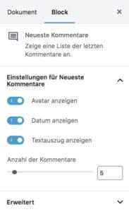 """Block-Einstellungen des """"Neueste Kommentare""""-Blocks im WordPress-Block-Editor"""