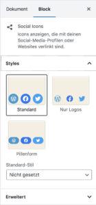 """Block-Einstellungen des """"Social Icons""""-Block im Block-Editor"""