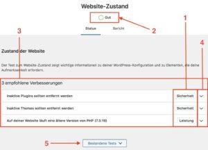 WordPress Website-Zustand Übersichtsseite