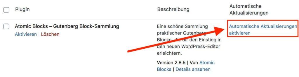 Automatische Aktualisierungen aktivieren für einzelne WordPress-Plugins