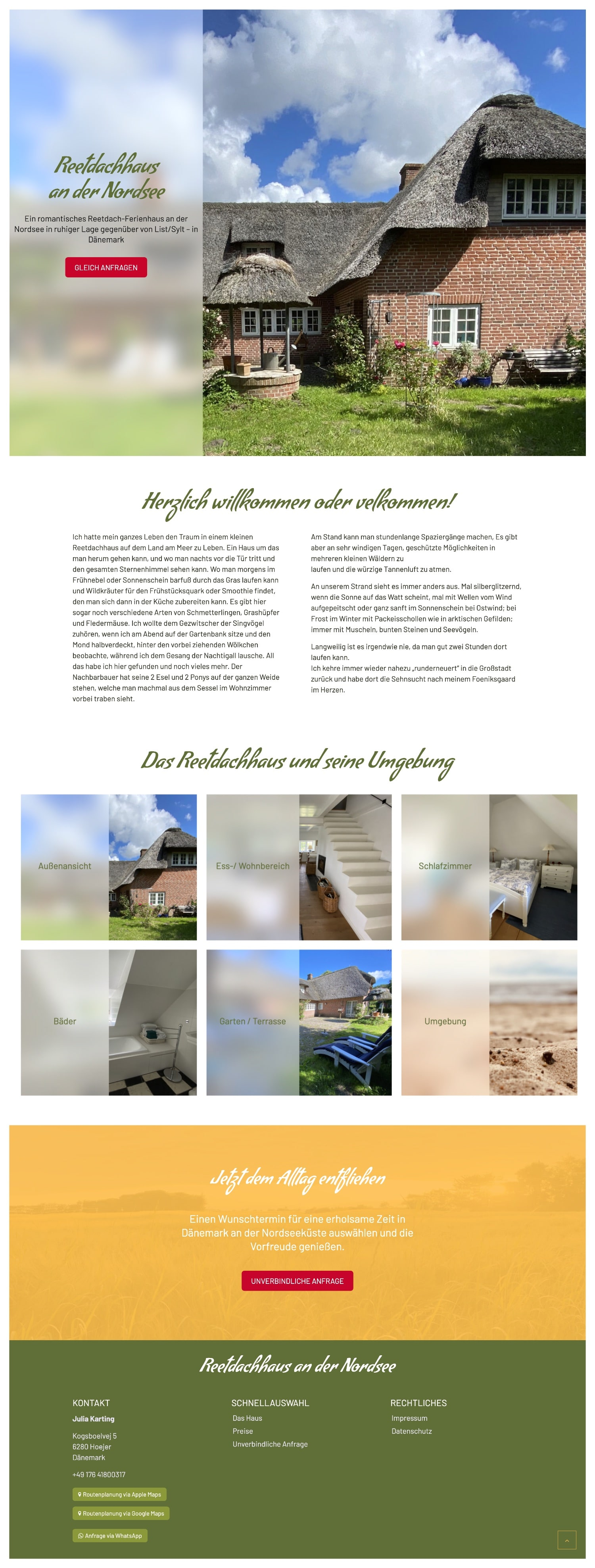 Nordsee Reetdachhaus Website
