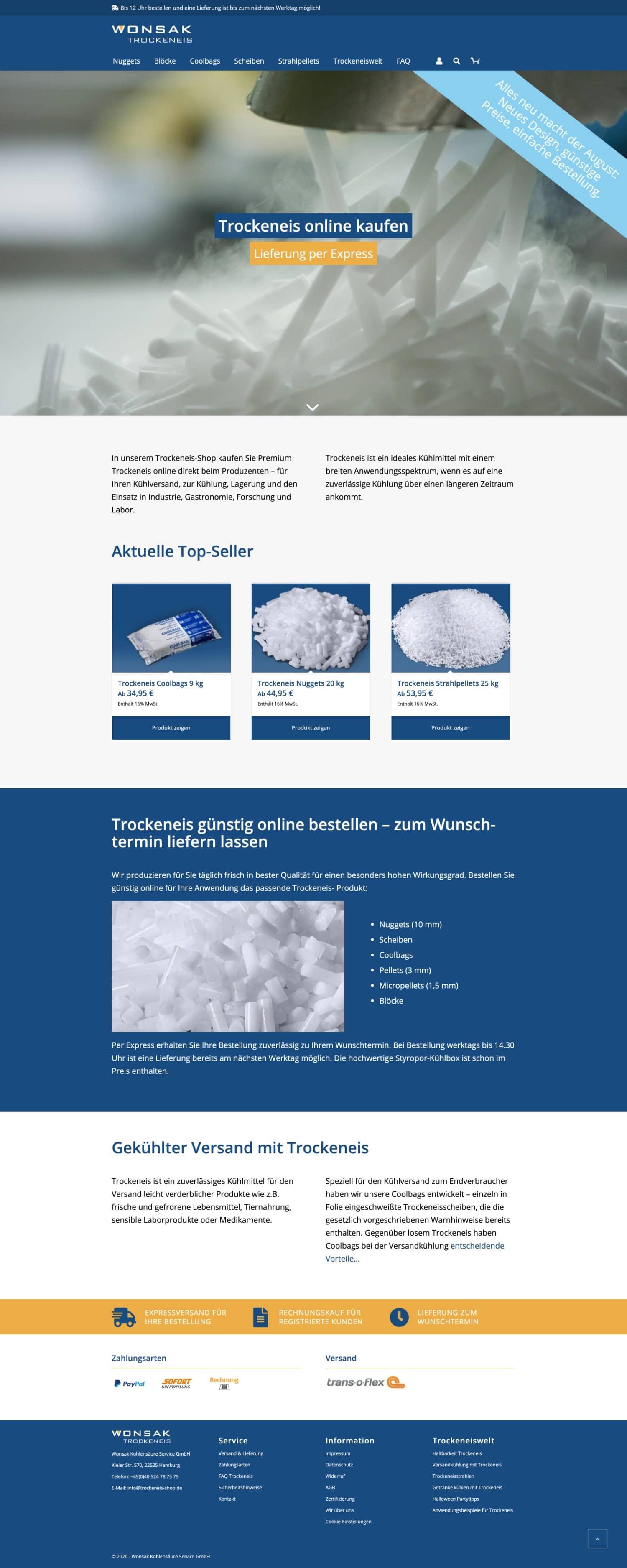 Trockeneis-Shop Website