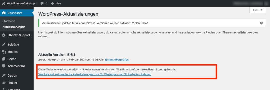 WordPress-Aktualisierungen - Jede Version automatisch aktualisieren