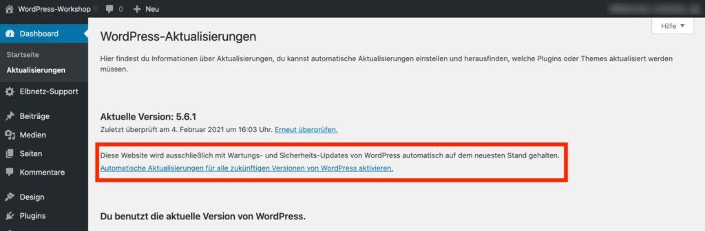 WordPress-Aktualisierungen - ausschließlich mit Wartungs- und Sicherheits-Updates