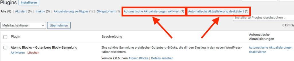 WordPress-Plugin-Dashboard - neue Kategorien für automatische Aktualisierungen