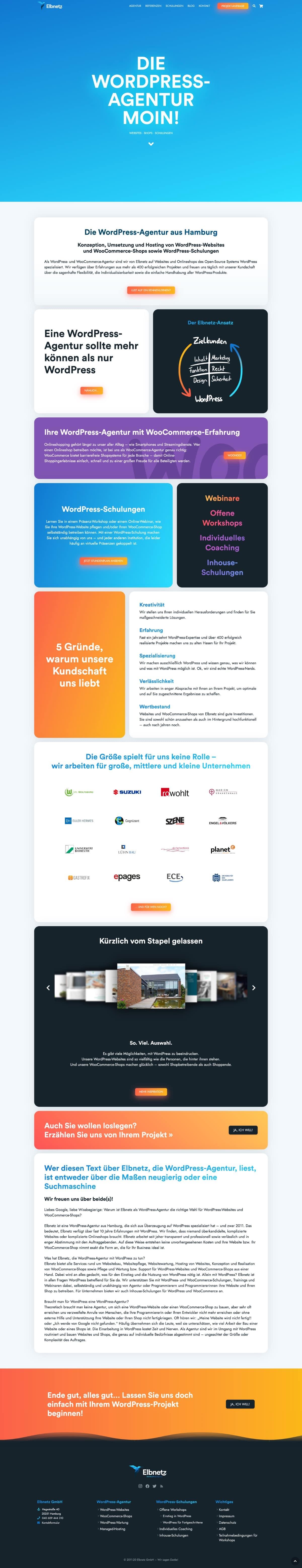 Elbnetz GmbH - Ansicht der Website
