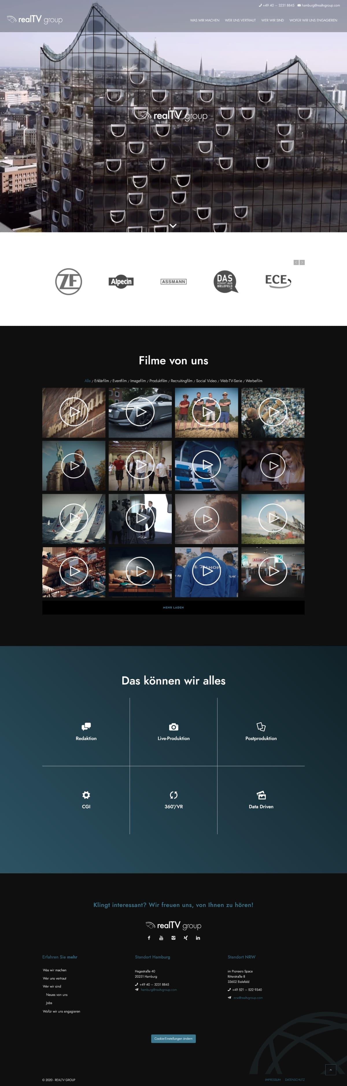 realTV-group - Ansicht der Website