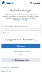 Bei PayPal mit Sandbox-Accountdaten anmelden