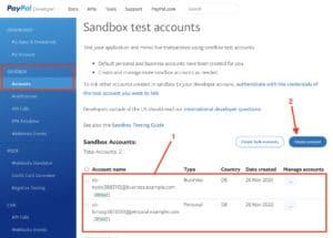 Dashboard der Developer-PayPal-Seite mit der Sandbox-Account-Einstellung