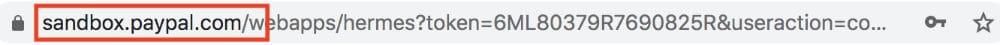 Hinweis durch die URL, dass der Testkauf über die PayPal-Sandbox abgewickewlt wird