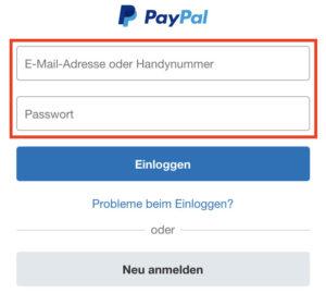 Login mit normalen PayPal-Zugangsdaten auf der Developer-PayPal-Seite