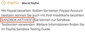 WordPress Online-Shop Hinweis auf aktivierte Sandbox in der Kasse bei ausgewählter Bezahlmethode PayPal