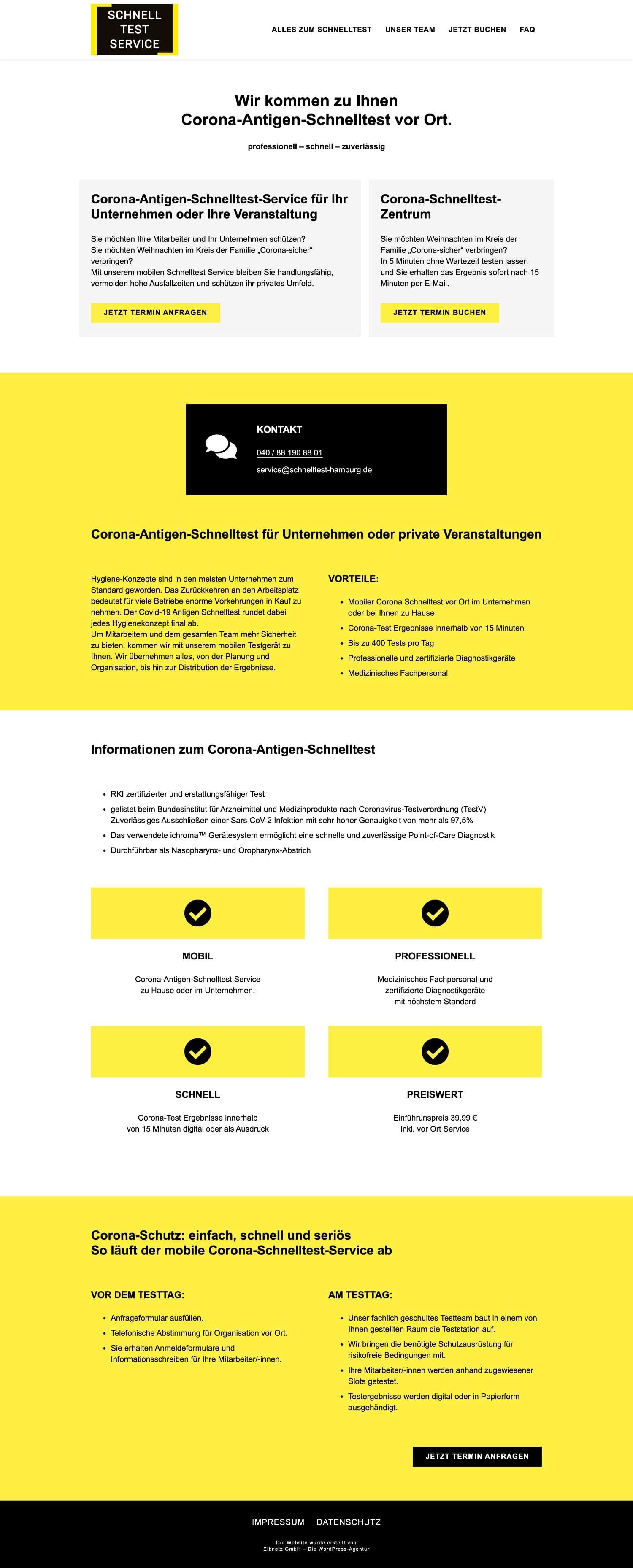 Corona-Antigen-Schnelltest - Webdesign