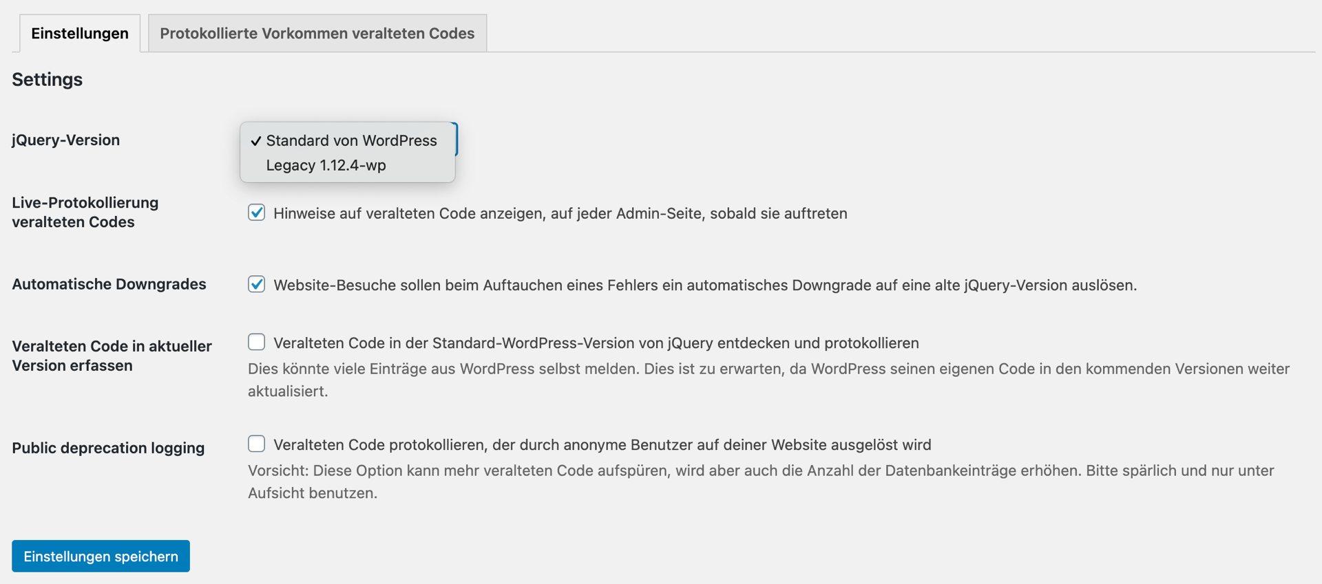 Einstellungsbildschirm jQuery Migration Helper