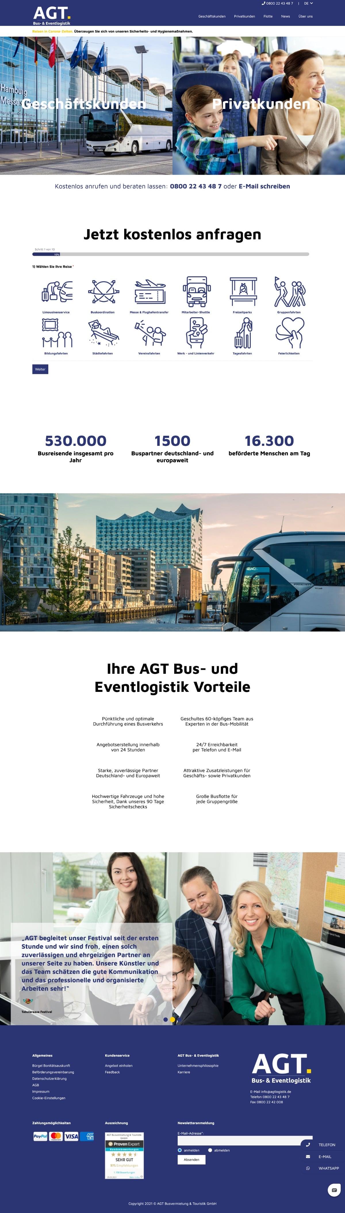 AGT Busvermietung - Website
