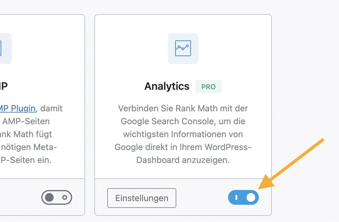 Analytics Modul aktivieren