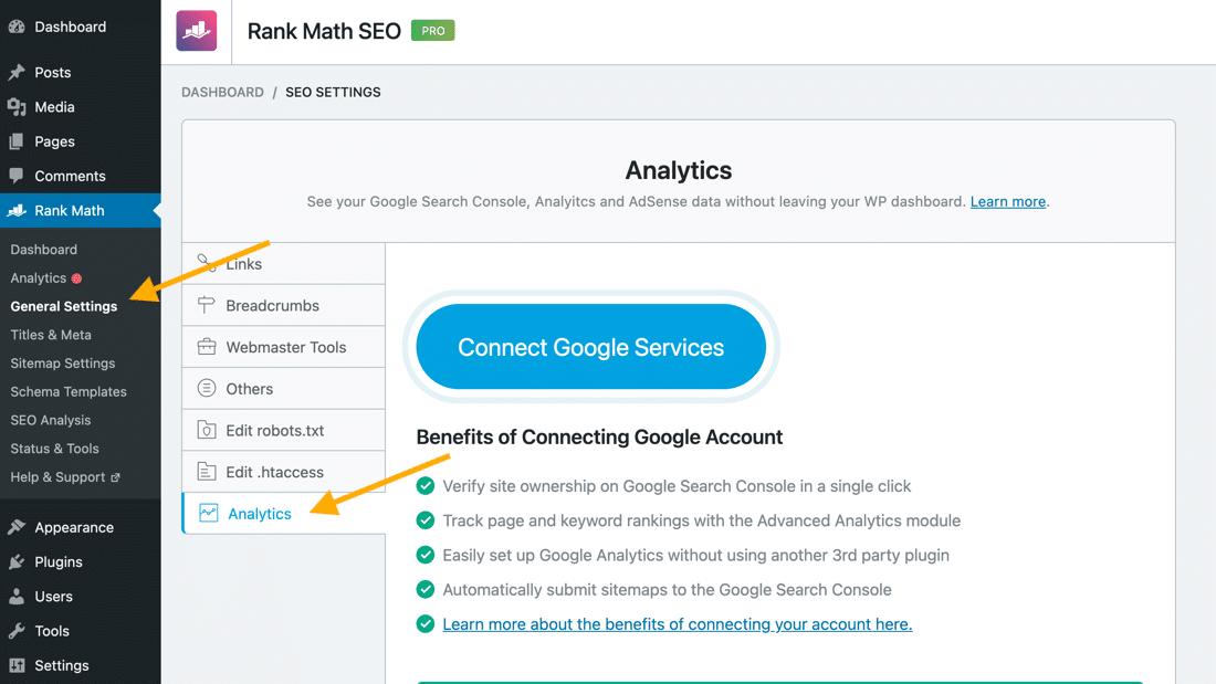 Google Account mit Rank Math verbinden