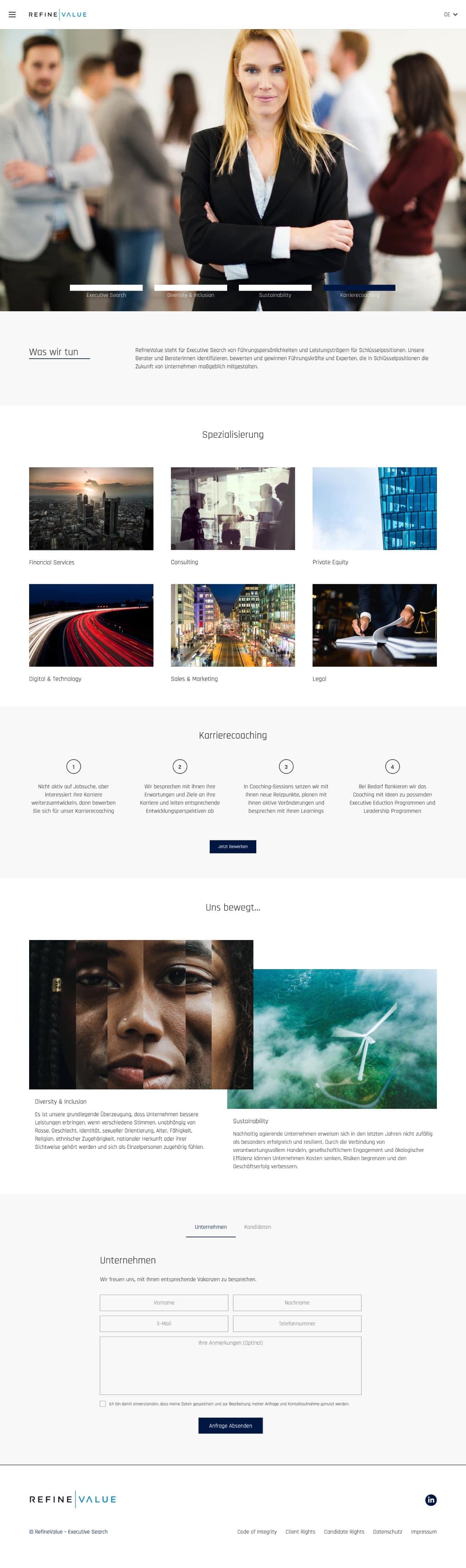 RefineValue Executive Search Website