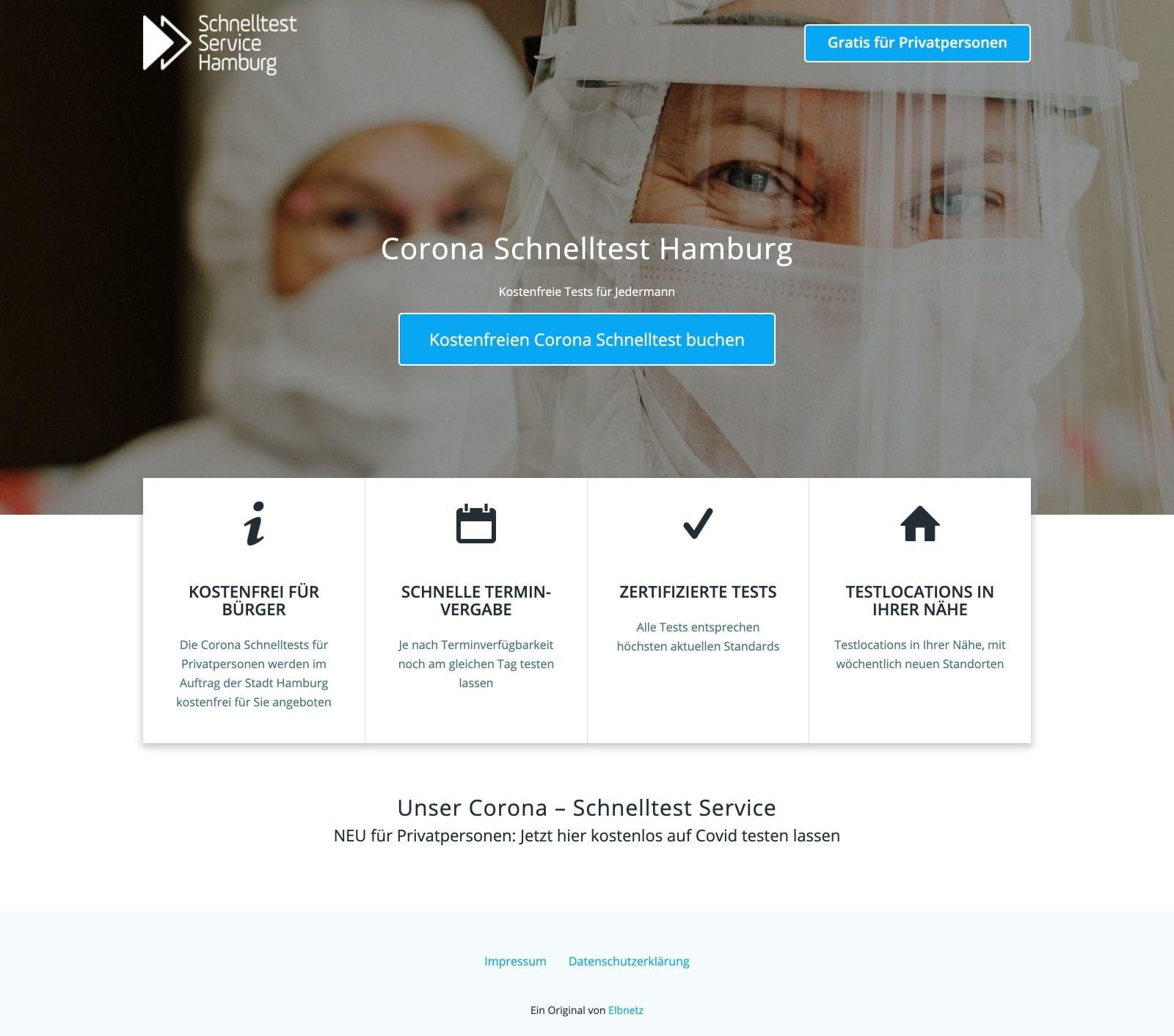 Schnelltest Service Hamburg - Website