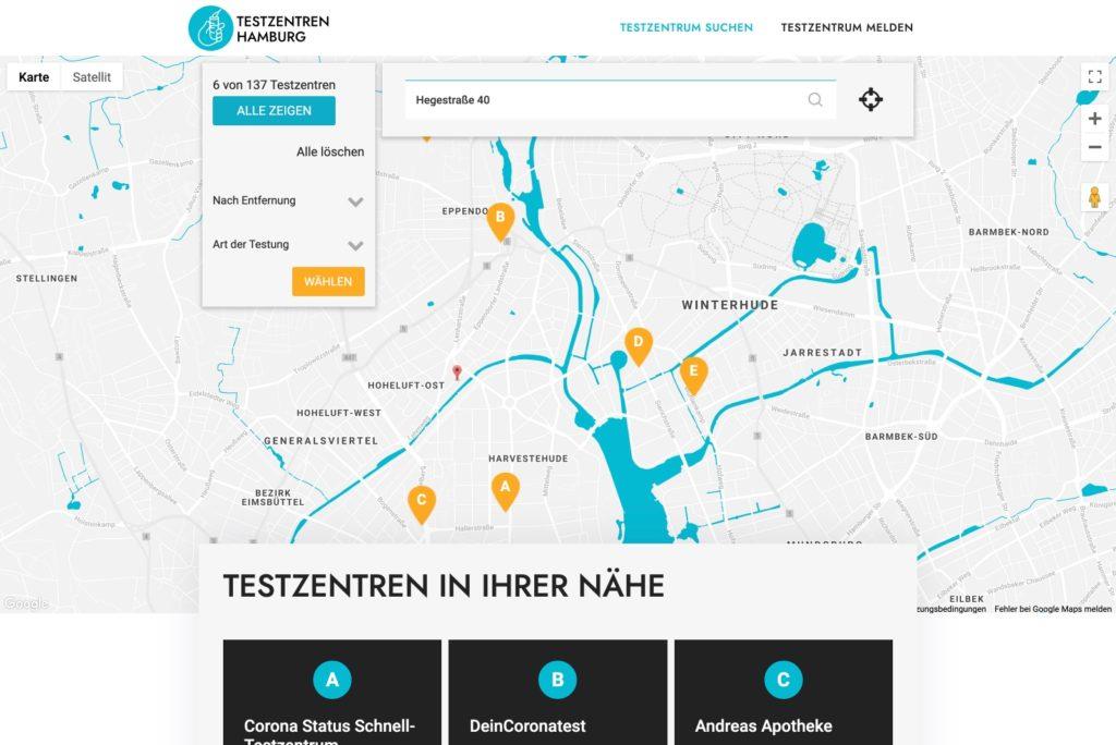 Corona-Testrenten Hamburg Startseite