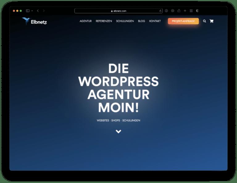 Elbnetz-Website im Dunkelmodus in Safari 15