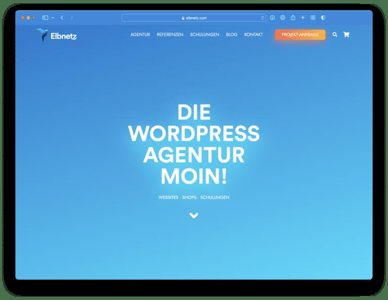 Elbnetz-Website im Hellmodus in Safari 15